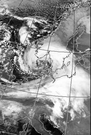 Cyclone Anatol - Infrared satellite image of Anatol over Northern Europe, 3 December 1999 at 1625 UTC