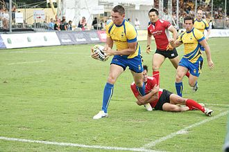 Rugby union in Singapore - Sweden's Andrew Daish scoring a try at the Singapore Sevens in 2011