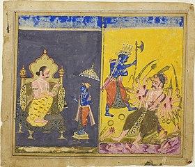 Krishna's Fifth and Sixth Avatars, page from a copy of the Gitagovinda of Jayaveda