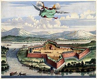 Batticaloa fort - Image: Antique print of the Batticaloa Fort, 1672