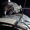 Apollo 17 astronaut Ronald E. Evans performs an EVA to retrieve film cassettes during the trans-Earth coast.jpg
