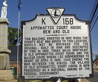 New Appomattox Court House - Appomattox Court House historic marker