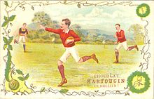 Water colour promoting Belgian chocolates that depicts Gould running in a hand-off pose.
