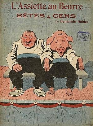 "L'Assiette au Beurre - Cover of L'Assiette au Beurre no. 88 (6 December 1902), composed by Benjamin Rabier. Bêtes et gens translates to ""man and beast""."