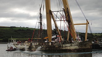 STV Astrid - The wreck of Astrid after she had been raised.