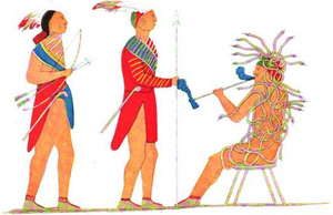Tadodaho - Iroquois painting of Tadodaho receiving two Mohawk chieftains.