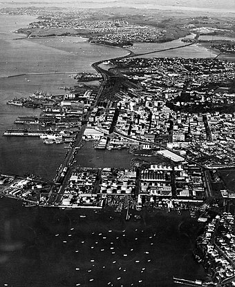 Looking east over the area that became Wynyard Quarter with the Auckland CBD in the middle distance, c. 1950s. Auckland CBD And Waterfront In The 1950s.jpg