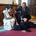 Aung San Suu Kyi plays with Bo and Sunny.jpg