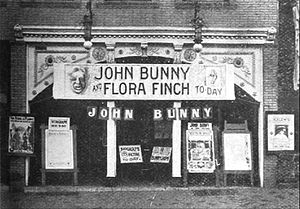 Flora Finch - Aurora Theater (Lawrence, Kansas) advertising a Vitagraph picture with John Bunny and Flora Finch