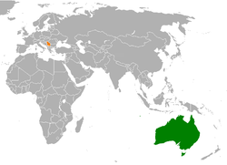Map indicating locations of Australia and Serbia