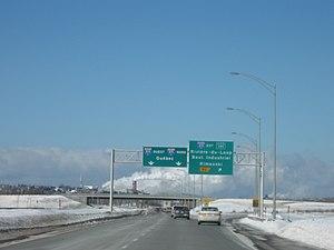 Quebec Autoroute 85 - Autoroute 85 in Rivière-du-Loup looking North towards the Saint Lawrence River