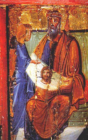 Thaddeus of Edessa - Abgar receiving the Mandylion from Thaddeus (encaustic icon, Saint Catherine's Monastery, Mount Sinai).