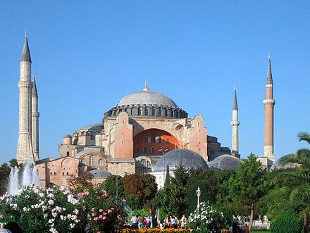 Hagia Sophia, the largest church in the world and patriarchal basilica of Constantinople for nearly a thousand years, later converted into a mosque, now a museum Aya Sofya.jpg