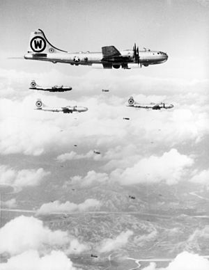 92d Air Refueling Wing - 92nd BG B-29s bombing a target in Korea, September 1950.