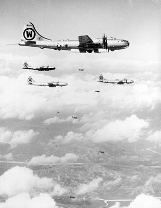 92d Air Refueling Wing - 92nd BG B-29s bombing a target in Korea, September 1950.