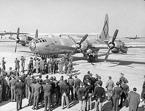 Carswell Air Force Base - B-50 Superfortress Lucky Lady II preparing to take off from Carswell AFB Texas for the first circumnavigation of the world, 1949