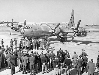 Naval Air Station Joint Reserve Base Fort Worth - B-50 Superfortress, Lucky Lady II, preparing to take off from Carswell AFB, Texas for the first nonstop circumnavigation of the world, 1949