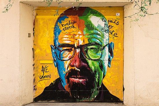 Graffiti of Walter White (Breaking Bad), Barcelona, 2015