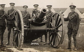 1st Suffolk Artillery Volunteer Corps - TF gunners with a 5-inch howitzer before World War I.