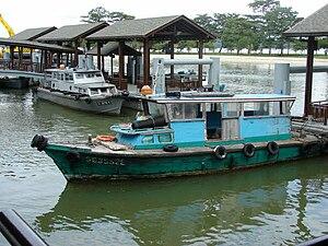 Bumboat - Bumboat at Changi Village jetty waiting for passengers to Pulau Ubin