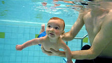 Submerged infant in a pool