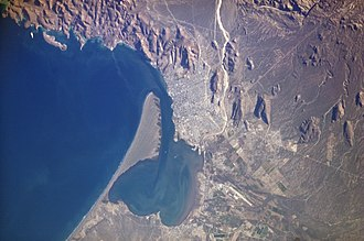 La Paz, Baja California Sur -  The Bay of La Paz, as seen from the International Space Station. El Mogote peninsula is to the center left.
