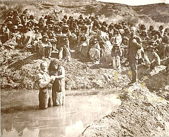 Shivwits Band of Paiutes - Member of the Shivwits Band, in 1875, being baptized by Mormon Missionaries.