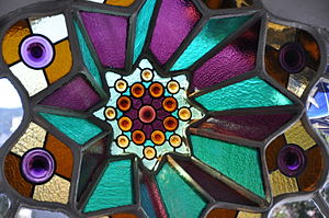 Bellesguard - Casa Figueres stain glass entrance window.