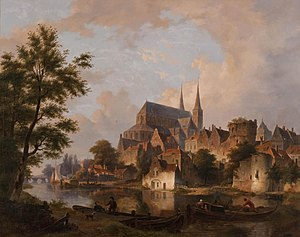 Bartholomeus van Hove - Image: Bartholomeus Johannes van Hove Capriccio stadsgezicht, elementen Deventer