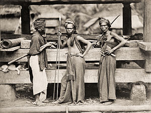 Sumatra - Batak warriors, 1870