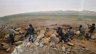 Victorio's War - Artist's depiction of the Battle of Quitman Canyon, also called Tinaja de las Palmas