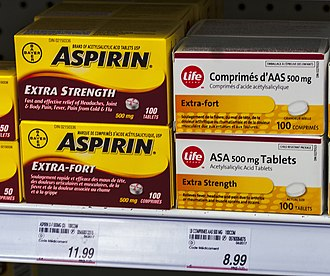 "Generic trademark - Aspirin for sale in Canada, next to generic store equivalent described as ""ASA tablets"", since the trademark is still recognized there."