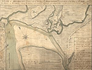 "Battle of Fort Cumberland - A 1755 map of the area.  Fort Cumberland is ""D"" in the upper center, and the Aulac River is the unlabeled right branch of the Tantramar River in the upper left."