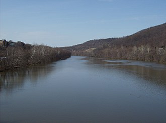 Beaver River (Pennsylvania) - Looking northward along the Beaver River at Beaver Falls.