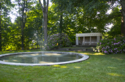 The garden's fountain and teahouse