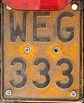 Belgian motorcycle plate 1965-2010 WEG-333.jpg