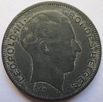 Leopold III of Belgium - The face of Leopold III on the zinc 5 franc coin.