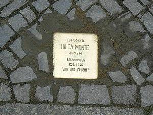 Hilde Meisel - Stolperstein in Berlin for Hilde Meisel in her pen name, Hilda Monte
