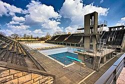 The swimming venue today.
