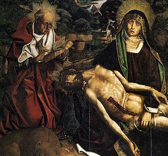 Bartolomé Bermejo - Bartolomé Bermejo - Pietà for Canon Lluís Desplà (detail)