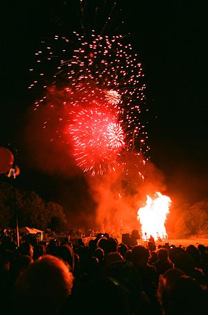 The bonfire and fireworks display at the end o...