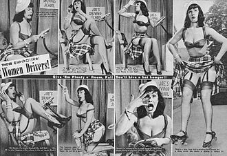 Mass media - A magazine feature from Beauty Parade from March 1952 stereotyping women drivers. It features Bettie Page as the model.
