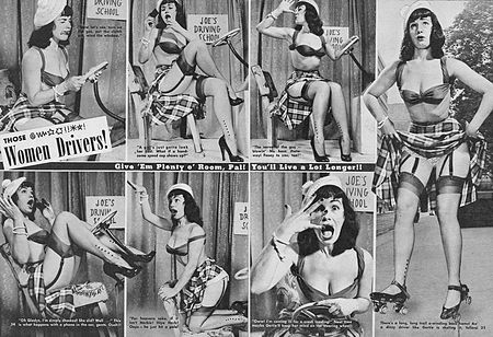 Bettie Page portrays stereotypes about women drivers in 1952. Bettie Page driving.jpg