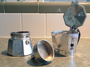 Alfonso Bialetti - Components of a Bialetti Moka Express (Made in Italy) pot.