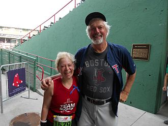 Bill Lee (left-handed pitcher) - Lee at Fenway Park with a 2012 Boston Marathon runner