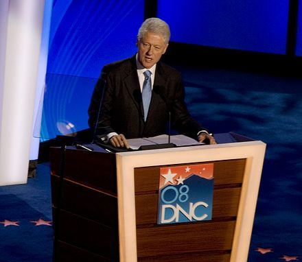 Clinton speaking at the 2008 Democratic National Convention Bill Clinton 2008 DNC (01) (cropped1).jpg