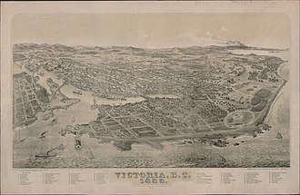 Victoria, British Columbia - Bird's-eye view of Victoria in 1889. After the completion of the Canadian Pacific Railway in 1886, Victoria lost its position as the commercial centre of the province to Vancouver.