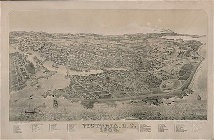 Bird's-eye view of Victoria in 1889. After the completion of the Canadian Pacific Railway in 1886, Victoria lost its position as the commercial centre of the province to Vancouver. Bird's-eye view of Victoria, British Columbia, 1889 - Vue a vol d'oiseau de Victoria (Colombie-Britannique), 1889 (38868364955).jpg