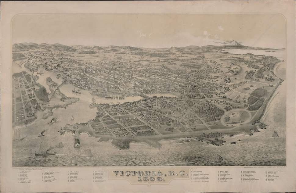 Bird's-eye view of Victoria, British Columbia, 1889 - Vue à vol d'oiseau de Victoria (Colombie-Britannique), 1889 (38868364955)