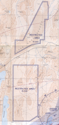 "1955 map of ""U. S. Prohibited, Restricted, Caution and Warning Areas on Elko Sectional Chart"": ""Black Rock Desert"" (R-266) and ""Sahwave Mountains"" (R-430)"
